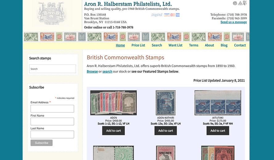 Screenshot of Aron R. Halberstam Philatelists, Ltd. home page
